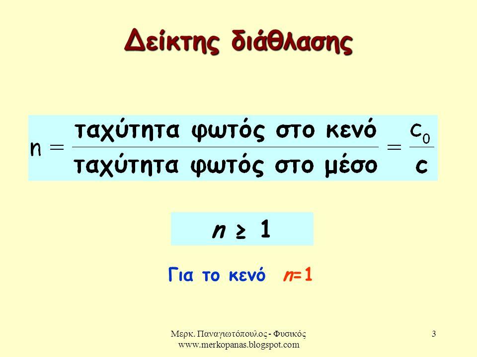 Μερκ. Παναγιωτόπουλος - Φυσικός www.merkopanas.blogspot.com 3 Δείκτης διάθλασης n ≥ 1 Για το κενό n=1