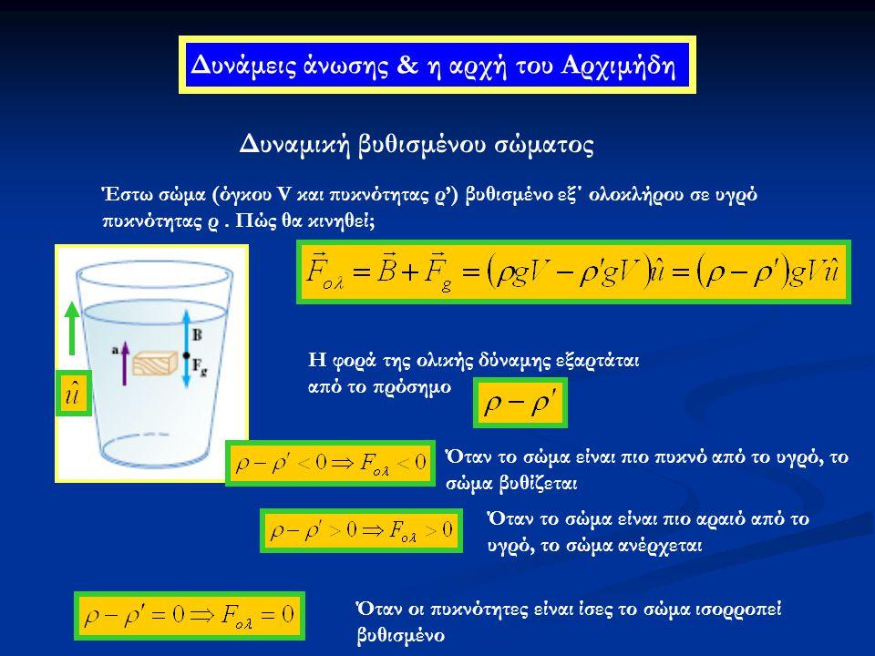 Δυνάμεις άνωσης & η αρχή του Αρχιμήδη Δυναμική βυθισμένου σώματος Έστω σώμα (όγκου V και πυκνότητας ρ') βυθισμένο εξ΄ ολοκλήρου σε υγρό πυκνότητας ρ.