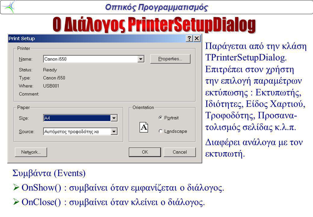 Οπτικός Προγραμματισμός Ιδιότητες (Properties)  FindText : (AnsiString) το κείμενο προς αναζήτηση  Position : (TPoint) οι συντ/νες της επάνω αριστερής γωνίας του διαλόγου  Options : (TFindOptions) παράμετροι που αφορούν το Διάλογο Συμβάντα (Events)  OnFind() : εδώ γράφουμε κώδικα για την υλοποίηση της αναζήτησης.