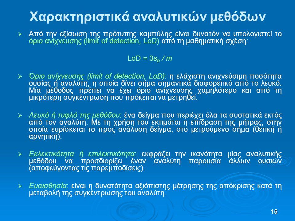 15 Χαρακτηριστικά αναλυτικών μεθόδων   Από την εξίσωση της πρότυπης καμπύλης είναι δυνατόν να υπολογιστεί το όριο ανίχνευσης (limit of detection, Lo