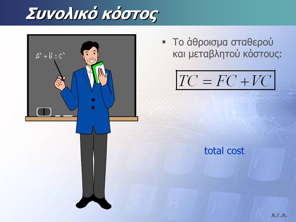Α.Γ.Λ. Σταθερό κόστος  Κόστος που παραμένει αμετάβλητο, ανεξάρτητα απο την ποσότητα παραγωγής, FC. fixed cost