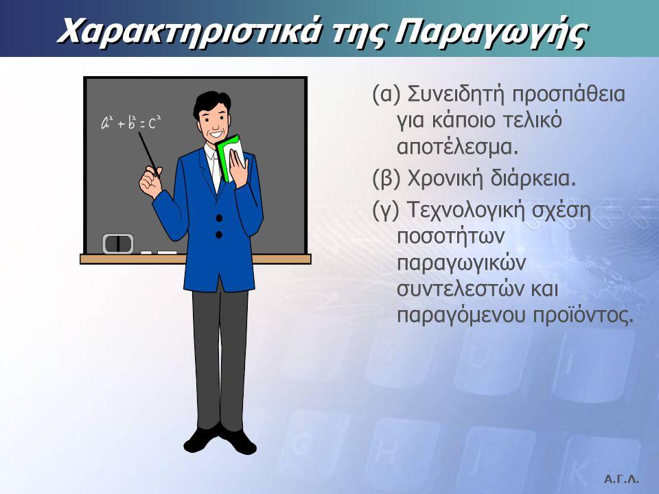 Α.Γ.Λ.Χαρακτηριστικά της Παραγωγής (α) Συνειδητή προσπάθεια για κάποιο τελικό αποτέλεσμα.