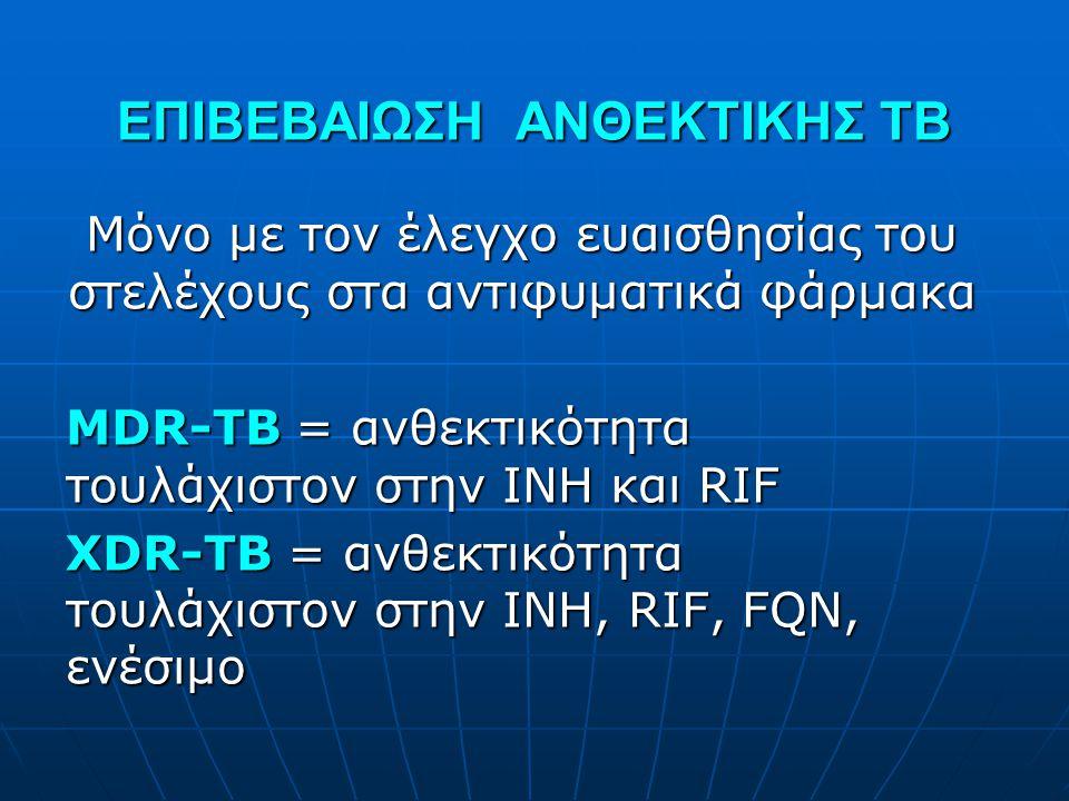 ΕΠΙΒΕΒΑΙΩΣΗ ΑΝΘΕΚΤΙΚΗΣ ΤΒ Μόνο με τον έλεγχο ευαισθησίας του στελέχους στα αντιφυματικά φάρμακα MDR-TB = ανθεκτικότητα τουλάχιστον στην INH και RIF XD
