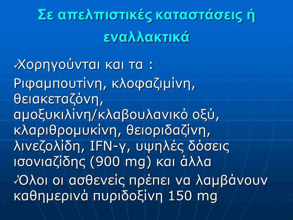 Σε απελπιστικές καταστάσεις ή εναλλακτικά  Χορηγούνται και τα : Ριφαμπουτίνη, κλοφαζιμίνη, θειακεταζόνη, αμοξυκιλίνη/κλαβουλανικό οξύ, κλαριθρομυκίνη
