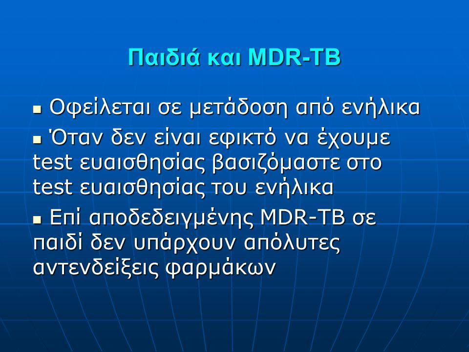 Παιδιά και MDR-TB  Οφείλεται σε μετάδοση από ενήλικα  Όταν δεν είναι εφικτό να έχουμε test ευαισθησίας βασιζόμαστε στο test ευαισθησίας του ενήλικα