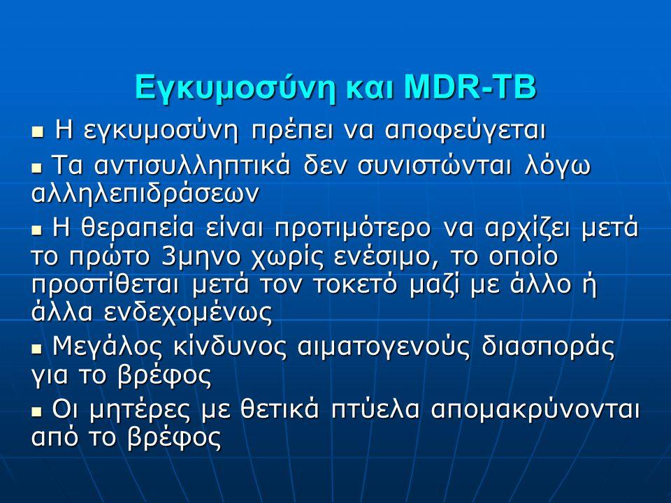 Εγκυμοσύνη και MDR-TB  Η εγκυμοσύνη πρέπει να αποφεύγεται  Τα αντισυλληπτικά δεν συνιστώνται λόγω αλληλεπιδράσεων  Η θεραπεία είναι προτιμότερο να