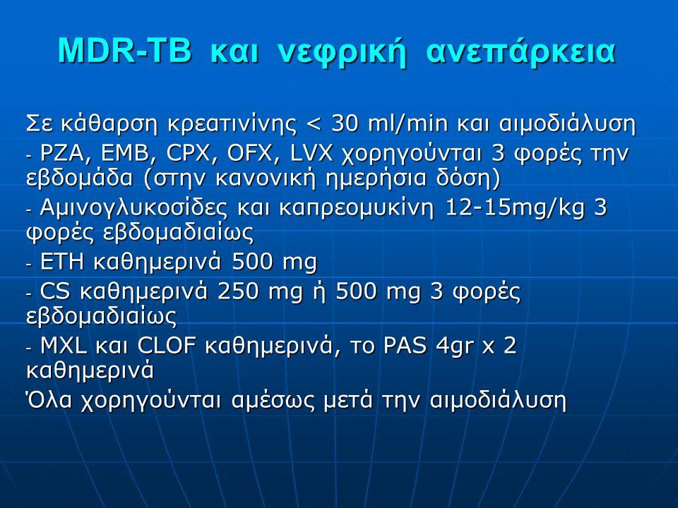 MDR-TB και νεφρική ανεπάρκεια Σε κάθαρση κρεατινίνης < 30 ml/min και αιμοδιάλυση - PZA, EMB, CPX, OFΧ, LVX χορηγούνται 3 φορές την εβδομάδα (στην κανο