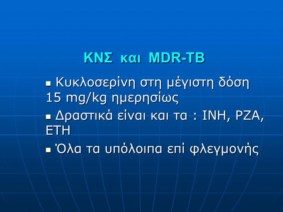 ΚΝΣ και MDR-TB ΚΝΣ και MDR-TB  Κυκλοσερίνη στη μέγιστη δόση 15 mg/kg ημερησίως  Δραστικά είναι και τα : INH, PZA, ETH  Όλα τα υπόλοιπα επί φλεγμονή