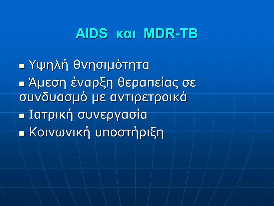 AIDS και MDR-TB  Υψηλή θνησιμότητα  Άμεση έναρξη θεραπείας σε συνδυασμό με αντιρετροικά  Ιατρική συνεργασία  Κοινωνική υποστήριξη