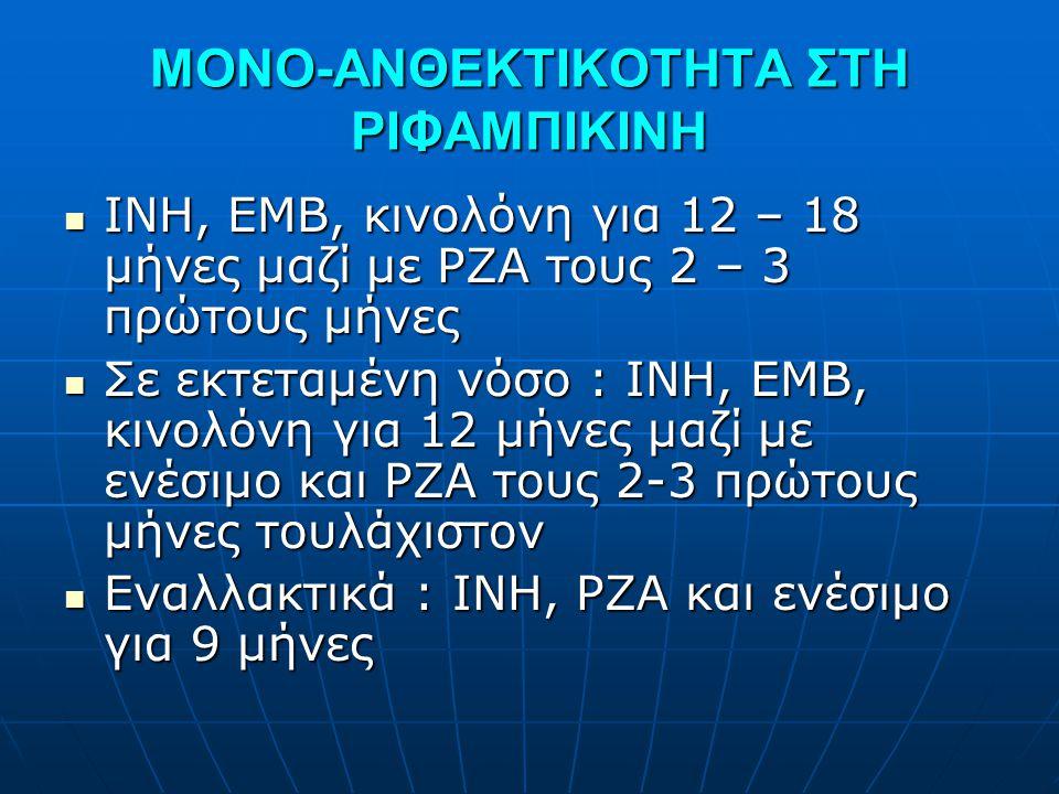 ΜΟΝΟ-ΑΝΘΕΚΤΙΚΟΤΗΤΑ ΣΤΗ ΡΙΦΑΜΠΙΚΙΝΗ  INH, EMB, κινολόνη για 12 – 18 μήνες μαζί με PZA τους 2 – 3 πρώτους μήνες  Σε εκτεταμένη νόσο : INH, EMB, κινολό