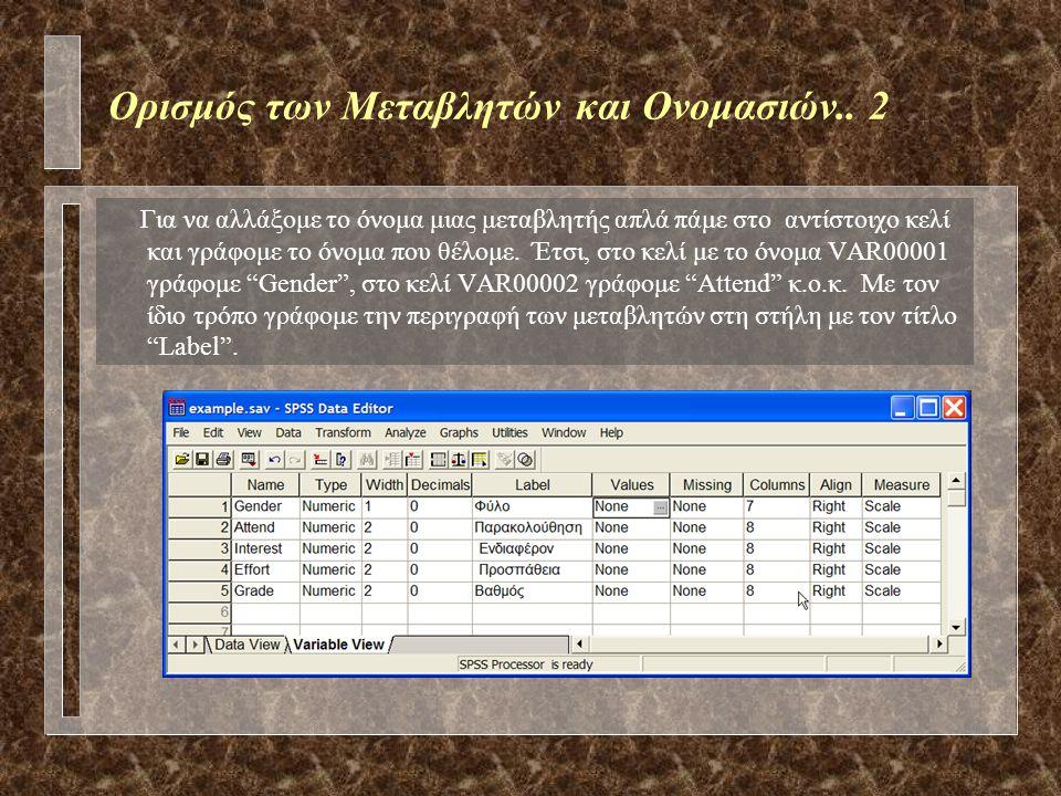 """Ορισμός των Μεταβλητών και Ονομασιών """"Variable View"""" Ο ορισμός των ονομάτων των μεταβλητών αλλά και η περιγραφή (label) της κάθε μεταβλητής και των τι"""