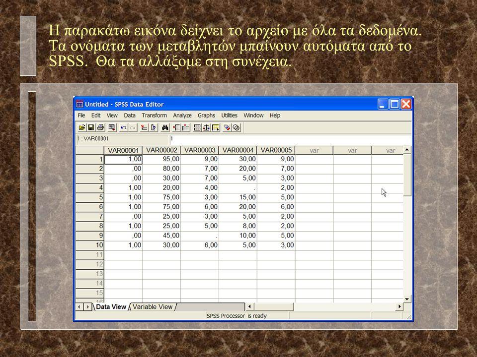 Η παρακάτω εικόνα δείχνει το αρχείο με όλα τα δεδομένα.