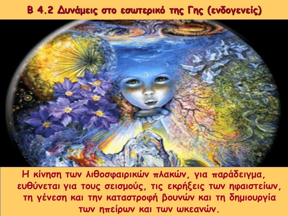 Β 4.2 Δυνάμεις στο εσωτερικό της Γης (ενδογενείς) Η επιφάνεια της Γης αλλάζει διαρκώς. Οι αλλαγές αυτές δε γίνονται εύκολα αντιληπτές από τον άνθρωπο,