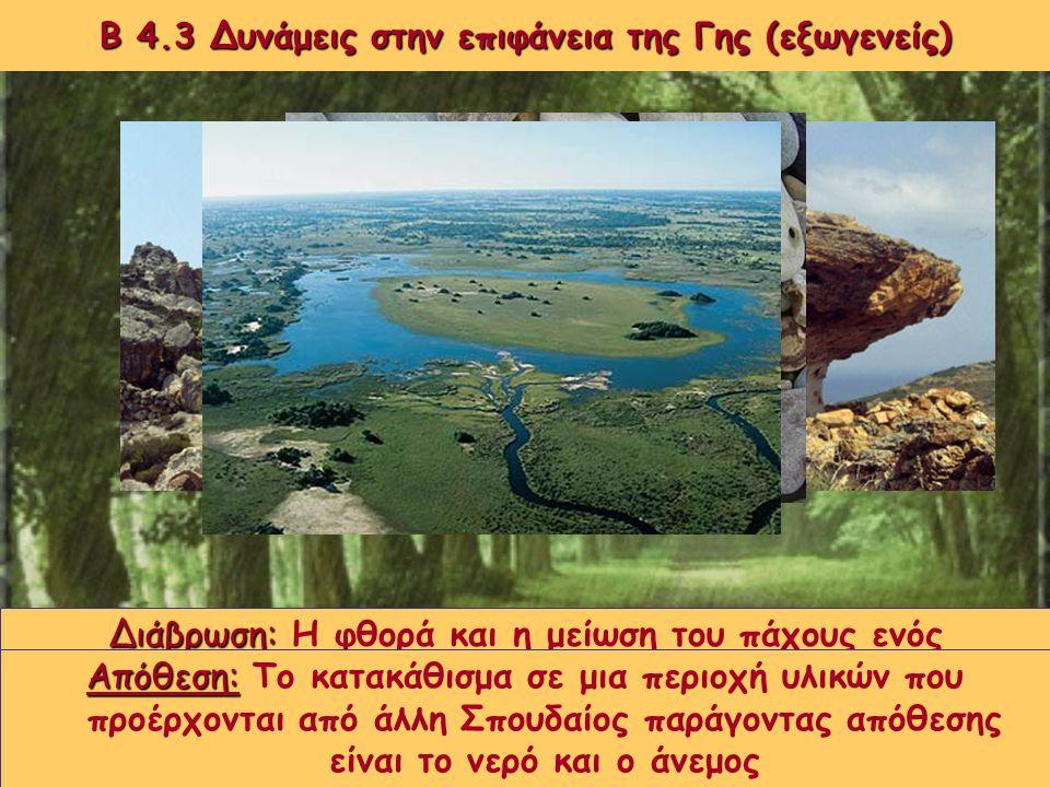 Β 4.3 Δυνάμεις στην επιφάνεια της Γης (εξωγενείς) Πολλές από τις αλλαγές που γίνονται στην επιφάνεια της Γης οφείλονται σε εξωγενείς παράγοντες, δηλαδ