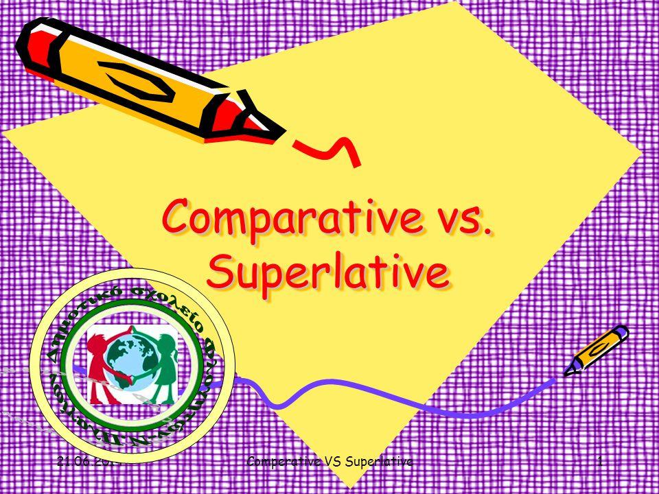 Ο Συγκριτικός βαθμός(Comparative) χρησιμοποιείται όταν θέλουμε να συγκρίνουμε δύο πράγματα,ζώα ή πρόσωπα κ.λ.π.: ' Οταν το επίθετο μας είναι •μονοσύλλαβο ή •δισύλλαβο που τελειώνει σε –οw,-er,-y, τότε προσθέτουμε –er + than στο τέλος του επιθέτου Π.