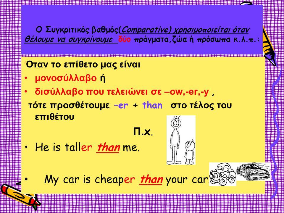  Εάν το επίθετο τελειώνει σε σύμφωνο+ φωνήεν+σύμφωνο (a,e,i,o,u) (b,c,d,f,g,h,j,k,l,m....) διπλασιάζουμε το τελικό σύμφωνο και μετά προσθέτουμε την κατάληξη -er •big - bigger •hot - hotter •thin - thinner •fat - fatter  If and adjective ends with a –y, we change it to –i and add –er •happy - happier •funny - funnier •easy - easier •ugly - uglier