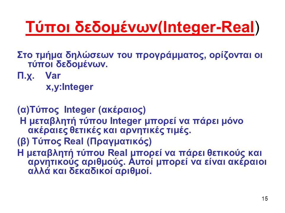 15 Τύποι δεδομένων(Integer-Real) Στο τμήμα δηλώσεων του προγράμματος, ορίζονται οι τύποι δεδομένων.