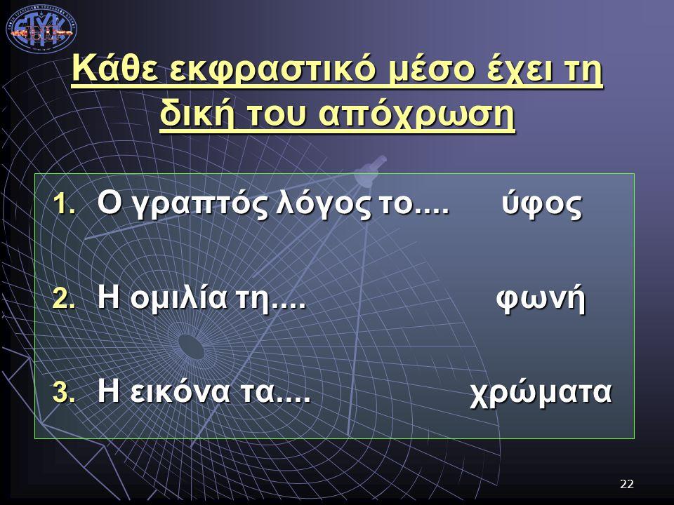 22 Κάθε εκφραστικό μέσο έχει τη δική του απόχρωση 1. Ο γραπτός λόγος το.... 2. Η ομιλία τη.... 3. Η εικόνα τα.... ύφοςφωνήχρώματα