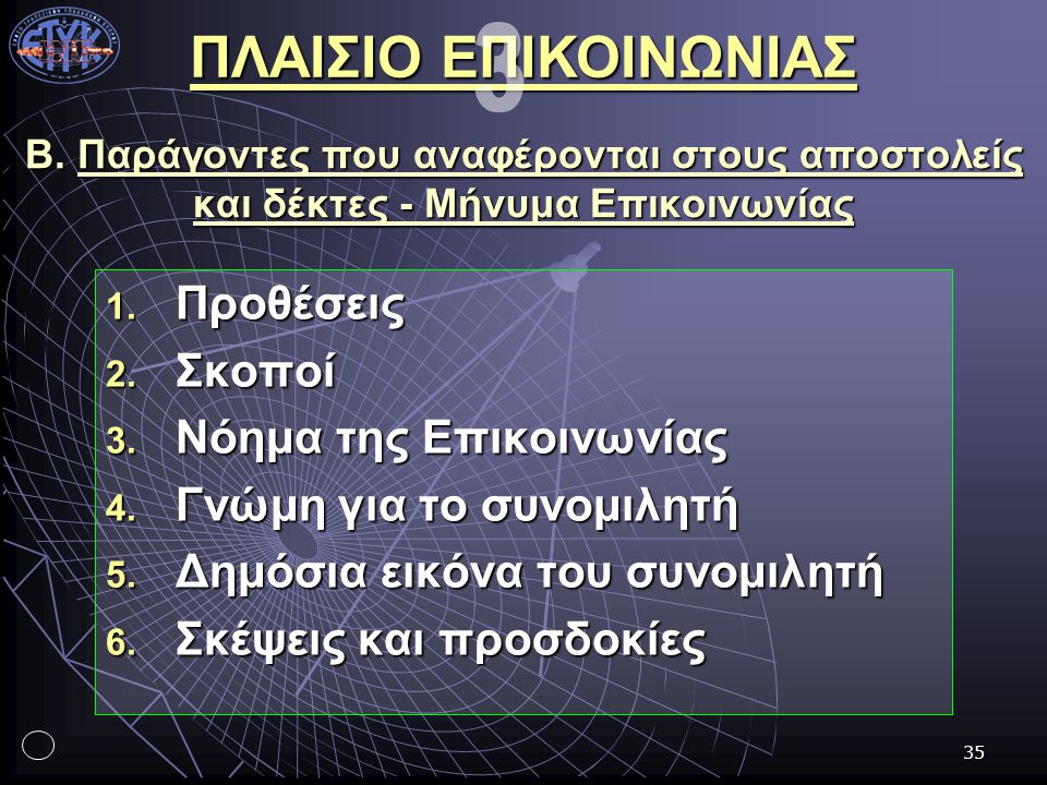 35 Β. Παράγοντες που αναφέρονται στους αποστολείς και δέκτες - Μήνυμα Επικοινωνίας 1. Προθέσεις 2. Σκοποί 3. Νόημα της Επικοινωνίας 4. Γνώμη για το συ