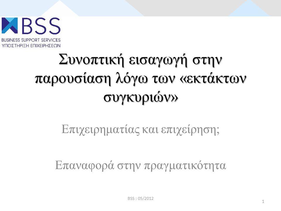 Συνοπτική εισαγωγή στην παρουσίαση λόγω των «εκτάκτων συγκυριών» Επιχειρηματίας και επιχείρηση; Επαναφορά στην πραγματικότητα BSS : 05/2012 1