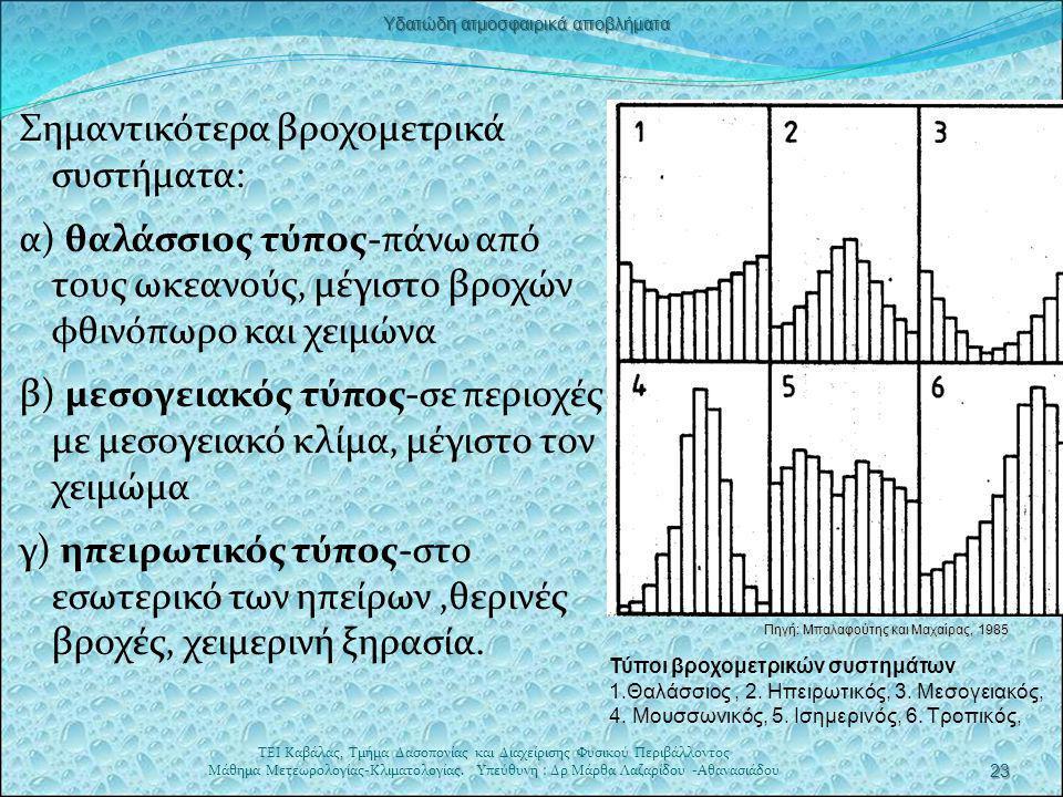 Σημαντικότερα βροχομετρικά συστήματα: α) θαλάσσιος τύπος-πάνω από τους ωκεανούς, μέγιστο βροχών φθινόπωρο και χειμώνα β) μεσογειακός τύπος-σε περιοχές