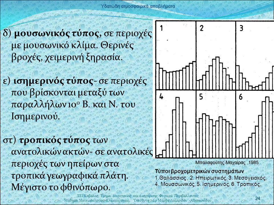  Βροχομετρικό σύστημα Α.- απλή κύμανση  Βροχομετρικό σύστημα Β.-διπλή κύμανση.