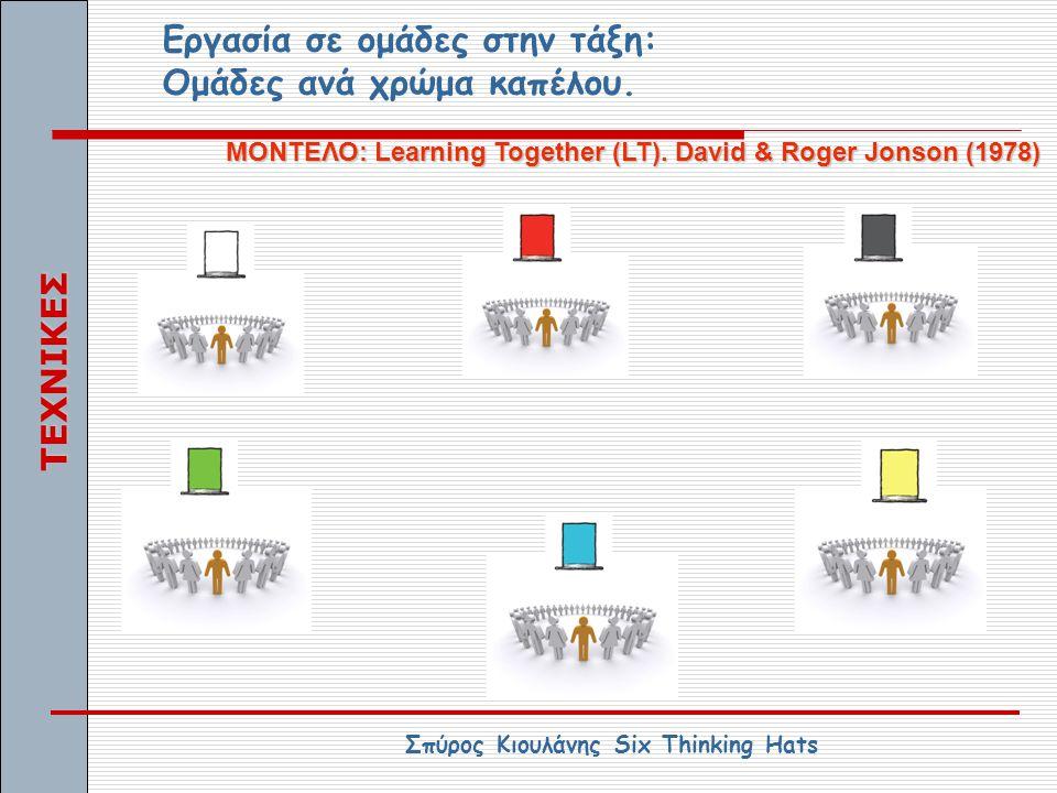 Εργασία σε ομάδες στην τάξη: Ομάδες ανά χρώμα καπέλου. ΜΟΝΤΕΛΟ: Learning Together (LT). David & Roger Jonson (1978) Σπύρος Κιουλάνης Six Thinking Hats