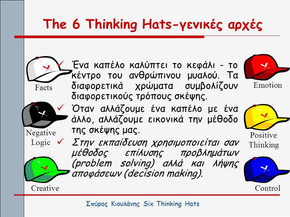 The 6 Thinking Hats-γενικές αρχές Creative Facts Emotion Negative Logic Positive Thinking Control ΈΈνα καπέλο καλύπτει το κεφάλι - το κέντρο του ανθ