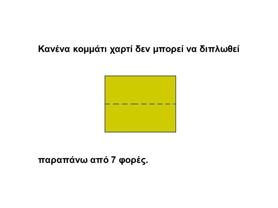 Κανένα κομμάτι χαρτί δεν μπορεί να διπλωθεί παραπάνω από 7 φορές.