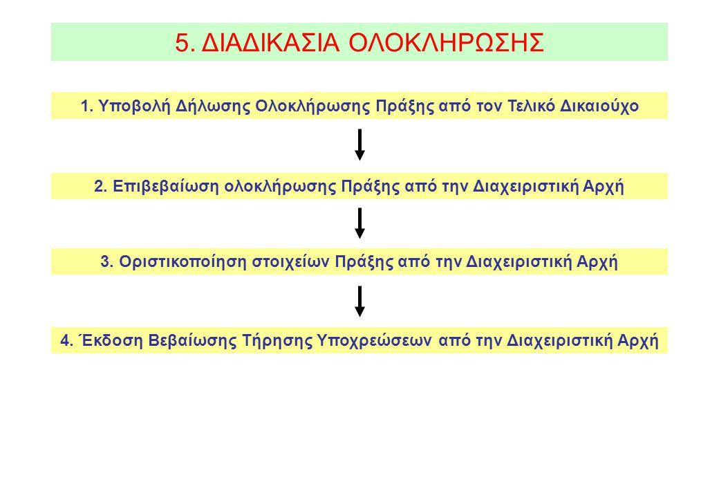5. ΔΙΑΔΙΚΑΣΙΑ ΟΛΟΚΛΗΡΩΣΗΣ 2. Επιβεβαίωση ολοκλήρωσης Πράξης από την Διαχειριστική Αρχή 1.