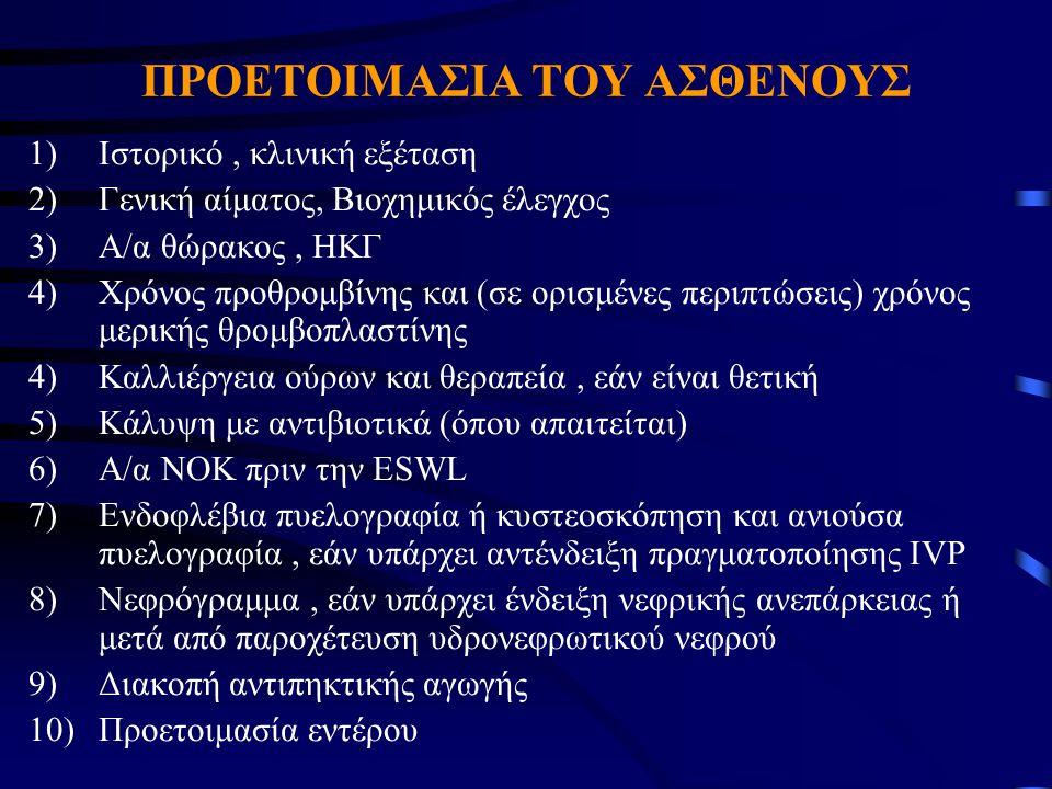 ΠΡΟΕΤΟΙΜΑΣΙΑ ΤΟΥ ΑΣΘΕΝΟΥΣ 1)Ιστορικό, κλινική εξέταση 2)Γενική αίματος, Βιοχημικός έλεγχος 3)Α/α θώρακος, ΗΚΓ 4)Χρόνος προθρομβίνης και (σε ορισμένες