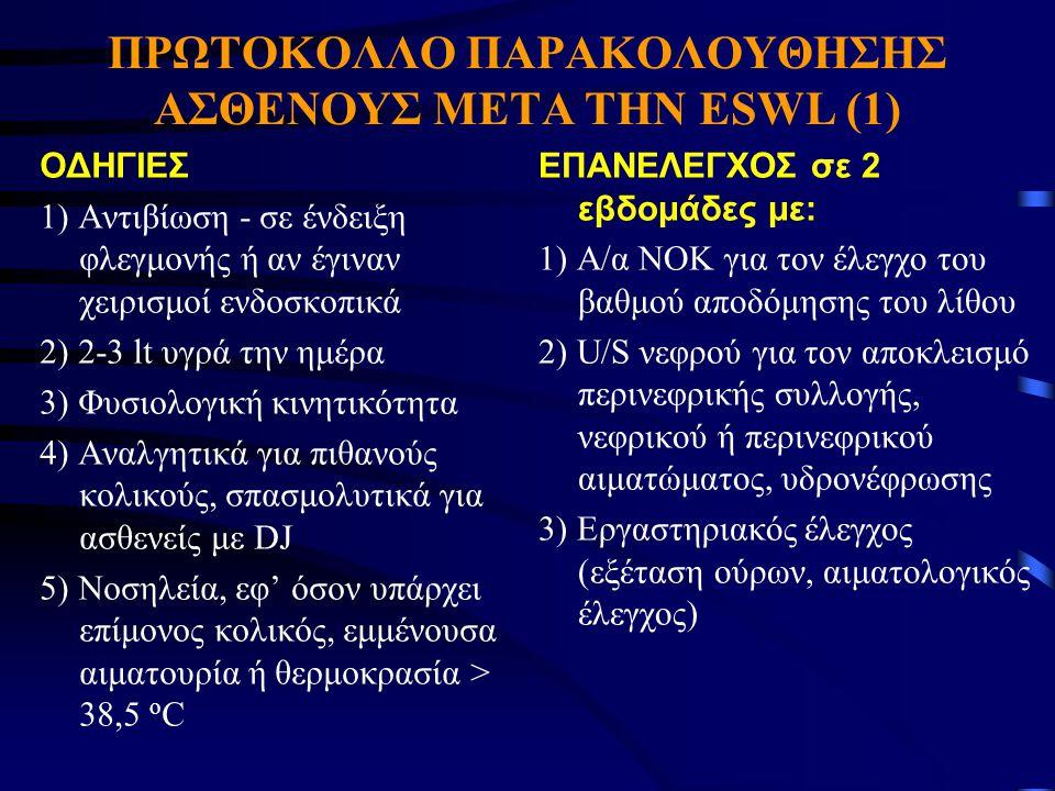 ΠΡΩΤΟΚΟΛΛΟ ΠΑΡΑΚΟΛΟΥΘΗΣΗΣ ΑΣΘΕΝΟΥΣ ΜΕΤΑ ΤΗΝ ESWL (1) ΟΔΗΓΙΕΣ 1) Αντιβίωση - σε ένδειξη φλεγμονής ή αν έγιναν χειρισμοί ενδοσκοπικά 2) 2-3 lt υγρά την
