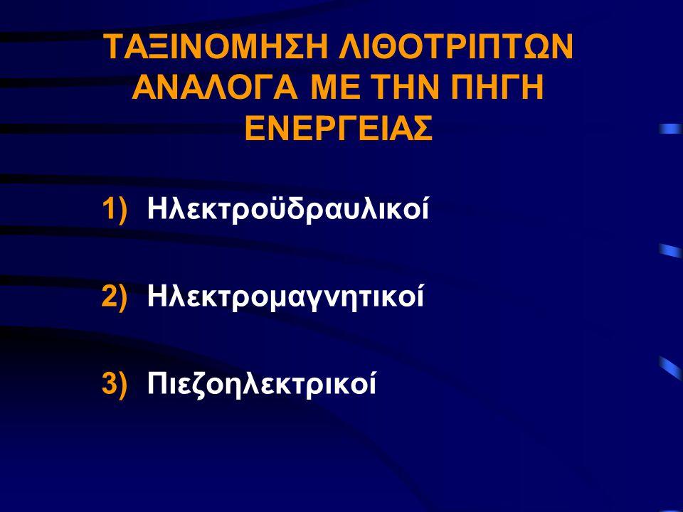 ΤΑΞΙΝΟΜΗΣΗ ΛΙΘΟΤΡΙΠΤΩΝ ΑΝΑΛΟΓΑ ΜΕ ΤΗΝ ΠΗΓΗ ΕΝΕΡΓΕΙΑΣ 1)Ηλεκτροϋδραυλικοί 2)Ηλεκτρομαγνητικοί 3)Πιεζοηλεκτρικοί
