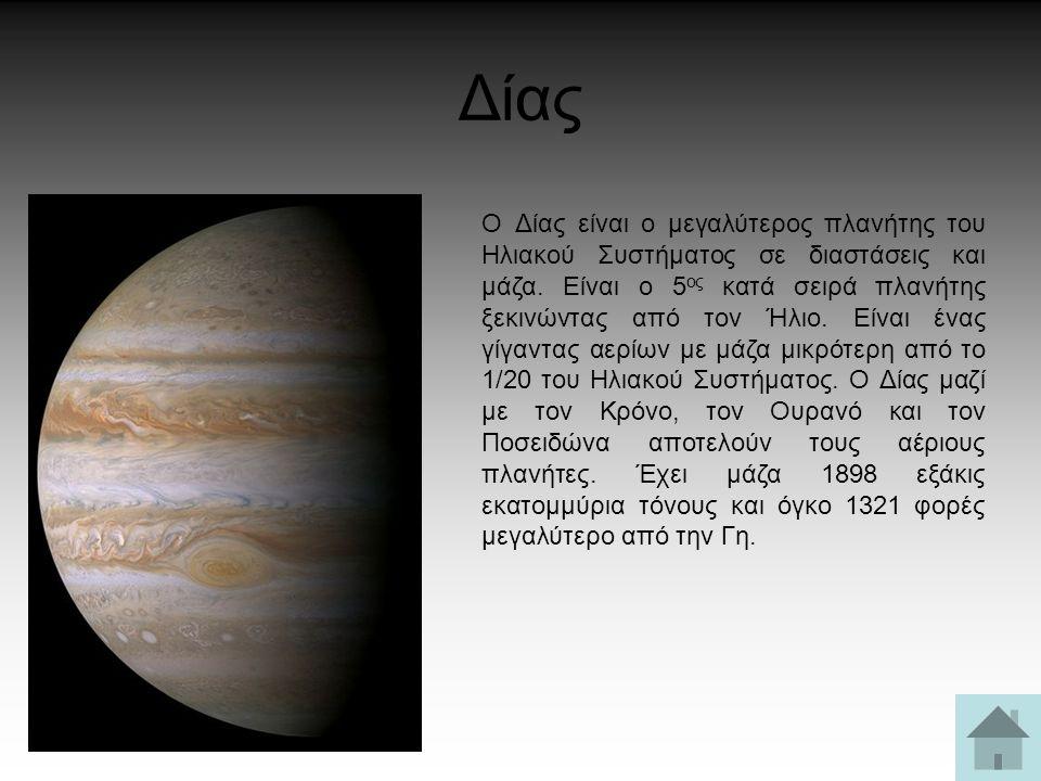 Δίας Ο Δίας είναι ο μεγαλύτερος πλανήτης του Ηλιακού Συστήματος σε διαστάσεις και μάζα. Είναι ο 5 ος κατά σειρά πλανήτης ξεκινώντας από τον Ήλιο. Είνα
