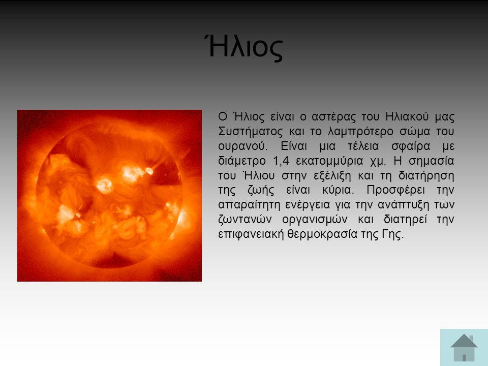 Ήλιος Ο Ήλιος είναι ο αστέρας του Ηλιακού μας Συστήματος και το λαμπρότερο σώμα του ουρανού. Είναι μια τέλεια σφαίρα με διάμετρο 1,4 εκατομμύρια χμ. Η