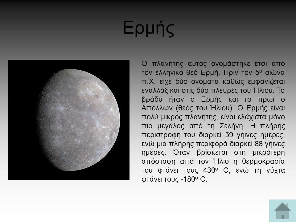 Ερμής Ο πλανήτης αυτός ονομάστηκε έτσι από τον ελληνικό θεό Ερμή. Πριν τον 5 ο αιώνα π.Χ. είχε δύο ονόματα καθώς εμφανίζεται εναλλάξ και στις δύο πλευ
