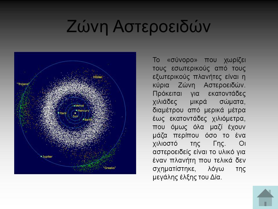 Ζώνη Αστεροειδών Το «σύνορο» που χωρίζει τους εσωτερικούς από τους εξωτερικούς πλανήτες είναι η κύρια Ζώνη Αστεροειδών. Πρόκειται για εκατοντάδες χιλι