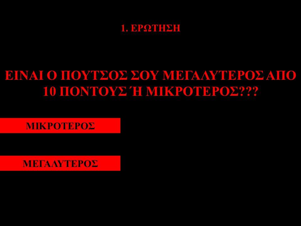 1. ΕΡΩΤΗΣΗ ΕΙΝΑΙ Ο ΠΟΥΤΣΟΣ ΣΟΥ ΜΕΓΑΛΥΤΕΡΟΣ ΑΠΟ 10 ΠΟΝΤΟΥΣ Ή ΜΙΚΡΟΤΕΡΟΣ??? ΜΙΚΡΟΤΕΡΟΣΜΕΓΑΛΥΤΕΡΟΣ