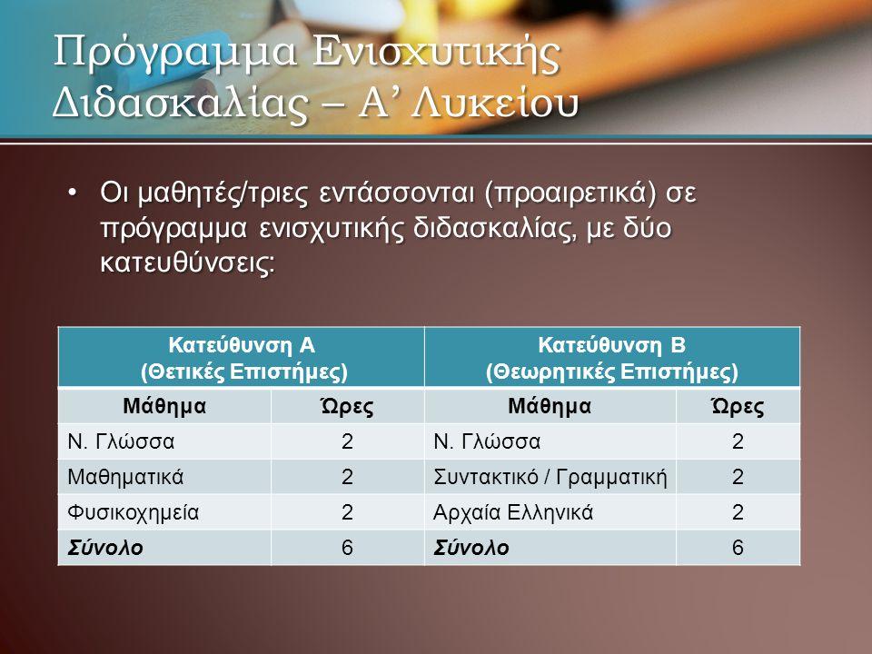 •Οι μαθητές/τριες εντάσσονται (προαιρετικά) σε πρόγραμμα ενισχυτικής διδασκαλίας, με δύο κατευθύνσεις: Κατεύθυνση Α (Θετικές Επιστήμες) Κατεύθυνση Β (Θεωρητικές Επιστήμες) ΜάθημαΏρεςΜάθημαΏρες Ν.