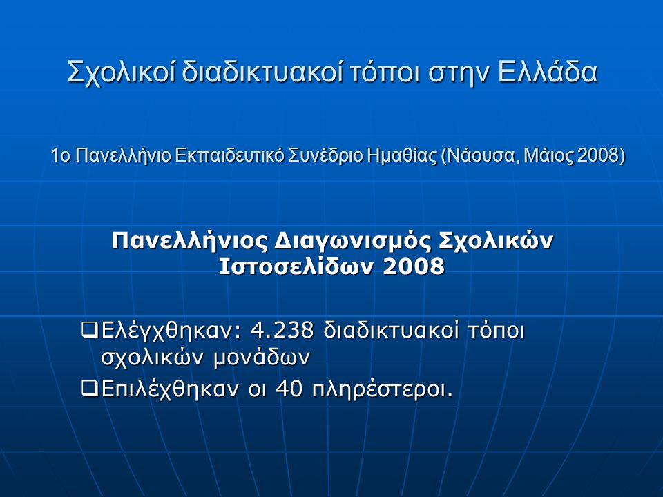 1ο Πανελλήνιο Εκπαιδευτικό Συνέδριο Ημαθίας (Νάουσα, Μάιος 2008) Πανελλήνιος Διαγωνισμός Σχολικών Ιστοσελίδων 2008  Ελέγχθηκαν: 4.238 διαδικτυακοί τό