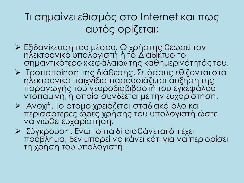 Τι σημαίνει εθισμός στο Internet και πως αυτός ορίζεται;  Εξιδανίκευση του μέσου. Ο χρήστης θεωρεί τον ηλεκτρονικό υπολογιστή ή το Διαδίκτυο το σημαν