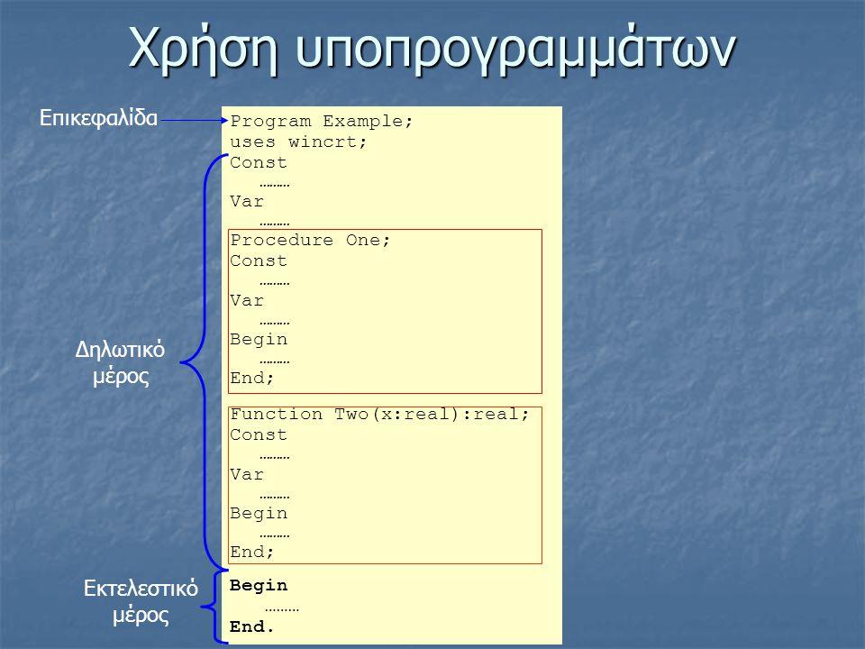 Χρήση υποπρογραμμάτων Program Εxample; uses wincrt; Const ……… Var ……… Procedure One; Const ……… Var ……… Begin ……… End; Function Two(x:real):real; Const ……… Var ……… Begin ……… End; Begin ……… End.