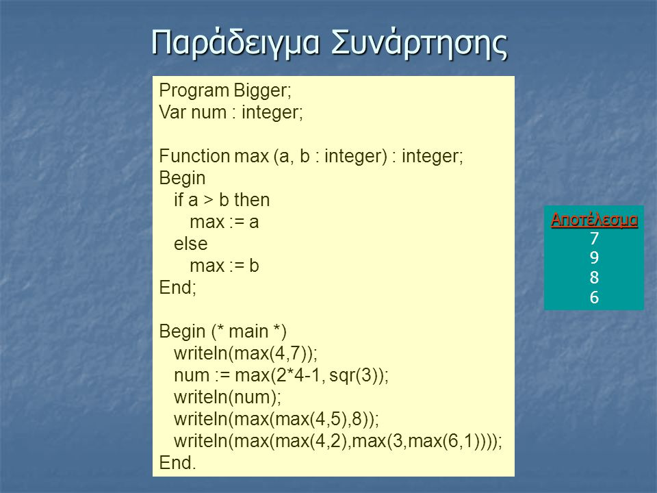 Παράδειγμα Συνάρτησης Program Bigger; Var num : integer; Function max (a, b : integer) : integer; Begin if a > b then max := a else max := b End; Begin (* main *) writeln(max(4,7)); num := max(2*4-1, sqr(3)); writeln(num); writeln(max(max(4,5),8)); writeln(max(max(4,2),max(3,max(6,1)))); End.