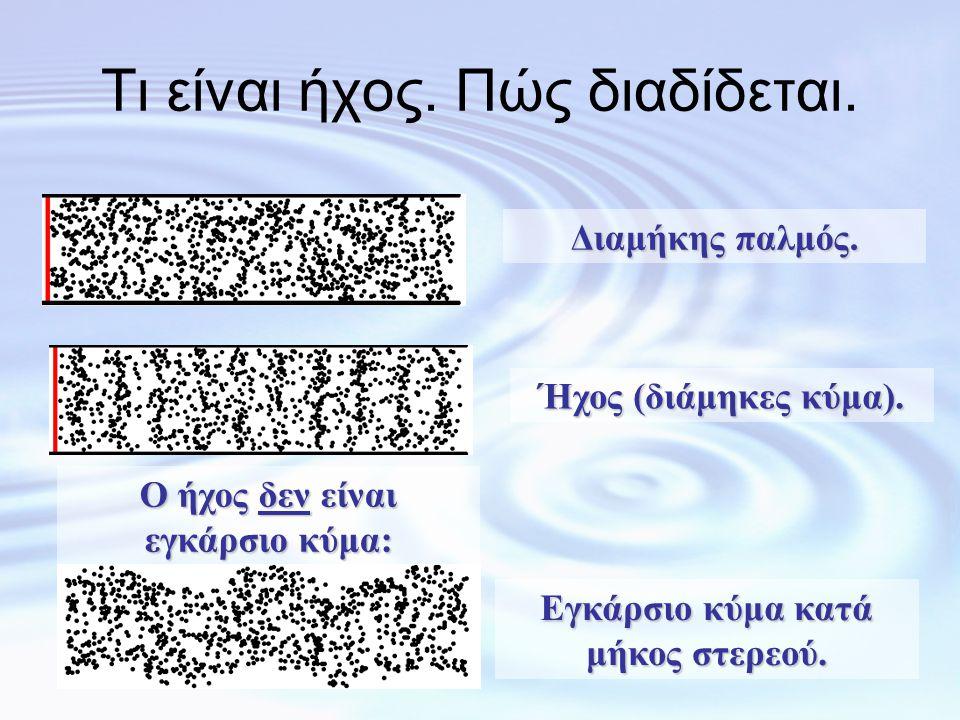 1η συσχέτιση: 1η συσχέτιση: Ακουστότητα - Ένταση •Η ακουστότητα (= το πόσο δυνατά «ακούγεται» ο ήχος) είναι το υποκειμενικό χαρακτηριστικό που σχετίζεται με την ένταση του ήχου (= το πόσο έντονα είναι τα «πυκνώματα» και «αραιώματα» των μορίων του μέσου στον οποίον διαδίδεται ο ήχος).