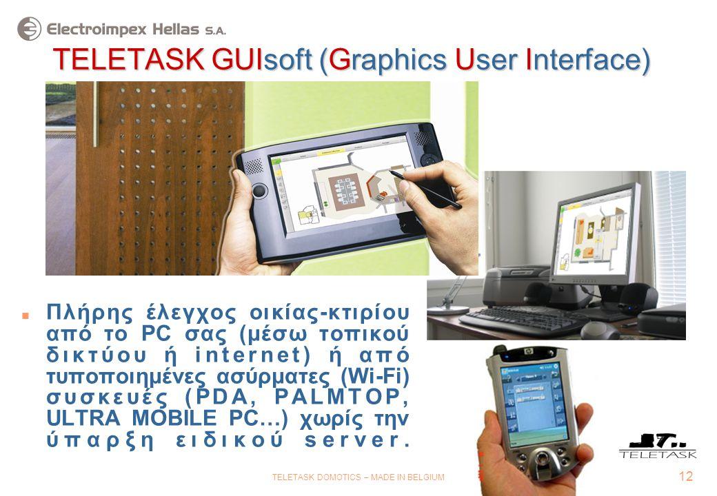 12 TELETASK DOMOTICS – MADE IN BELGIUM TELETASK GUIsoft (Graphics User Interface)  Πλήρης έλεγχος οικίας-κτιρίου από το PC σας (μέσω τοπικού δικτύου ή internet) ή από τυποποιημένες ασύρματες (Wi-Fi) συσκευές (PDA, PALMTOP, ULTRA MOBILE PC…) χωρίς την ύπαρξη ειδικού server.