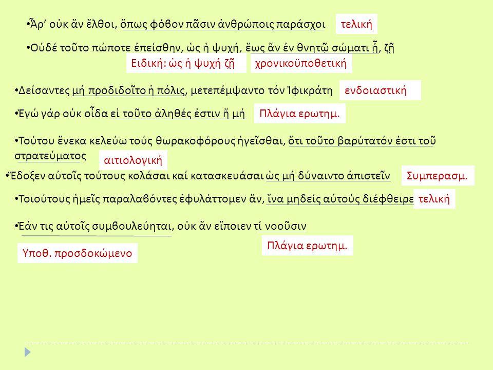 • Εἴ τις ἀντείποι, εὐθύς ἐτεθνήκειΥποθ./ αόριστη επανάληψη στο παρελθόν • Ἕως ἄν τοίνυν, ἔφη ὁ Ἀγησίλαος, ἐκεῖσε πορεύωμαι, δίδου δή τῇ στρατιᾷ τά ἐπιτήδεια Χρονικοϋποθ./ υστερόχρονο Ἕως ἄν τοίνυν ἐκεῖσε πορεύωμαι, • Ἐάν ἀκολουθήσῃς ἐμοί, εἰσάξω σε εἰς τήν ἀκρόπολινΥποθ./ προσδικώμενο • Ἡρακλῆς ἠπόρει ποίαν ὁδόν τράποιτοΠλαγια ερωτημ.