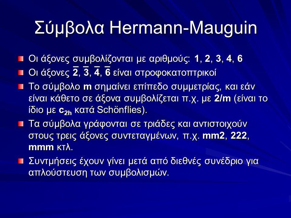 Σύμβολα Hermann-Mauguin Οι άξονες συμβολίζονται με αριθμούς: 1, 2, 3, 4, 6 Οι άξονες 2, 3, 4, 6 είναι στροφοκατοπτρικοί Το σύμβολο m σημαίνει επίπεδο