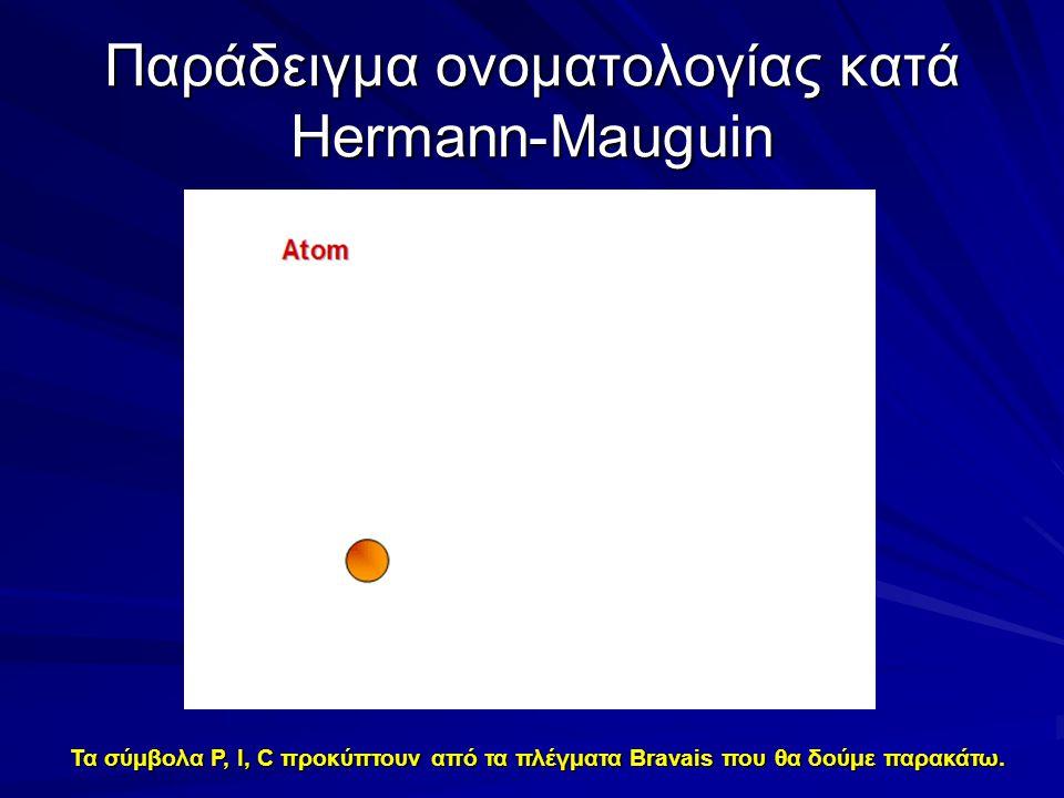Παράδειγμα ονοματολογίας κατά Hermann-Mauguin Τα σύμβολα P, I, C προκύπτουν από τα πλέγματα Bravais που θα δούμε παρακάτω.