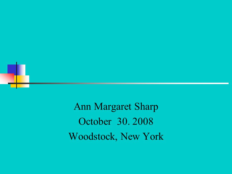 Ann Margaret Sharp October Woodstock, New York