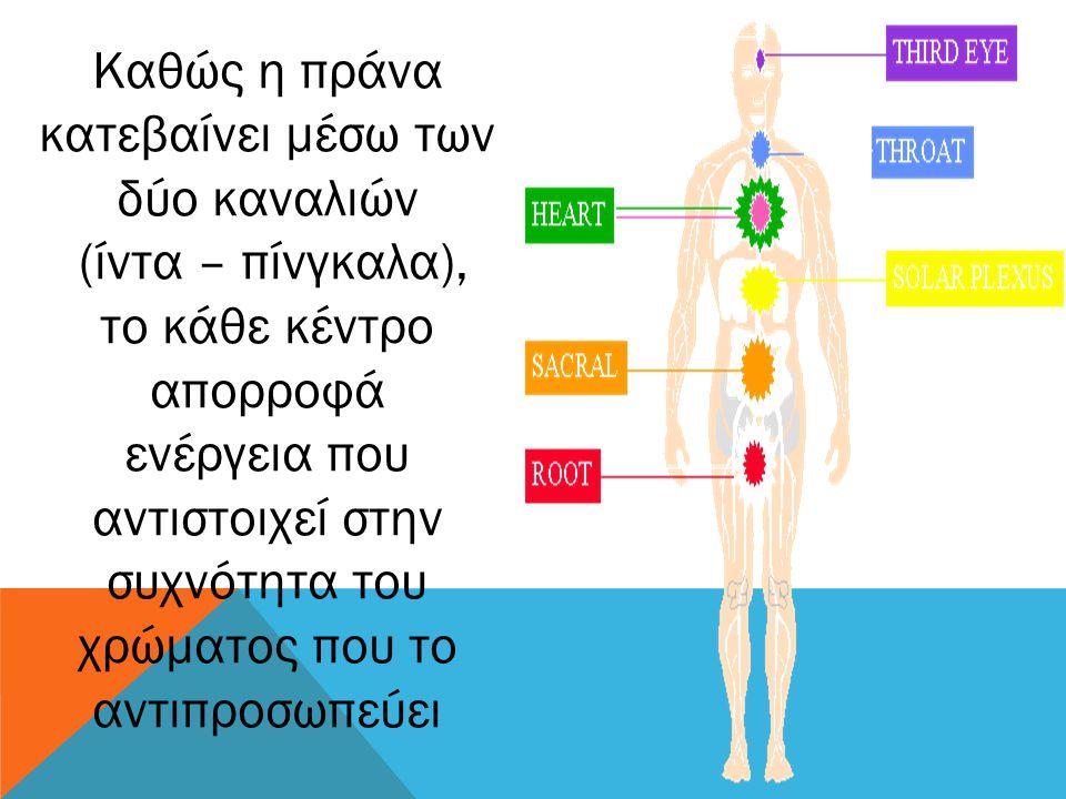 Καθώς η πράνα κατεβαίνει μέσω των δύο καναλιών (ίντα – πίνγκαλα), το κάθε κέντρο απορροφά ενέργεια που αντιστοιχεί στην συχνότητα του χρώματος που το
